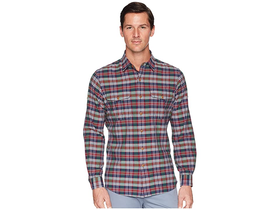 Polo Ralph Lauren Madras Ranger Military Roll Up Tab Long Sleeve Sport Shirt (Shiraz/Hunter Multi) Men