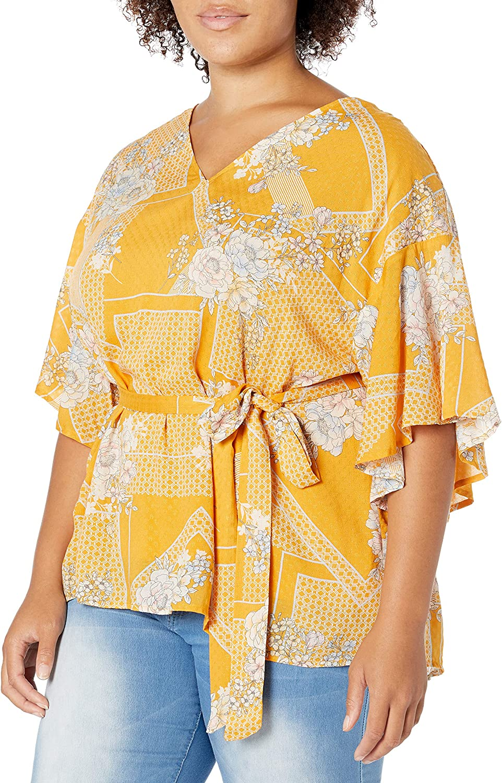 1970s Shirts, Tops, Blouses, T-Shirt Styles   History Jessica Simpson Womens Cerise Flutter Sleeve Tie Belt Top  AT vintagedancer.com