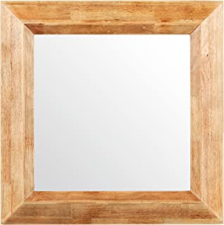 Stone & Beam Square Rustic Wood Frame Hanging Wall Mirror, 25.75 Inch Height, Natural