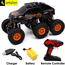 Zest 4 Toyz 2.4GHZ 6 Wheel Rock Crawler SUV Monster Truck 4WD Rechargeable Remote Control Car -Assorted