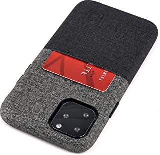 Dockem Luxe M1 Wallet Case for iPhone 11 Pro (5.8): Built-in Metal Plate, Designed for Magnetic Mounting: Ultra Slim Canvas Style Synthetic Leather Card Case: M-Series [Black and Grey]