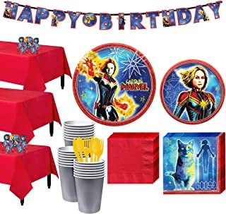 Party City Captain Marvel Tableware Kit for 24 Guests, Includes Table Covers, Table Decorating Supplies, Banner
