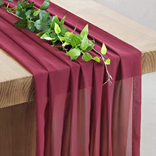 SoarDream Burgundy Sheer Table Runner 27x120 Inches Chiffon Table Runner Wedding Table Wedding Ceremony Arch Backdrop Decorations
