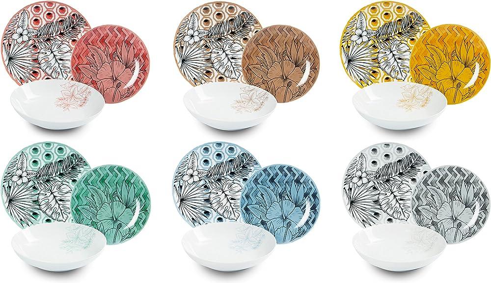 Excelsa flower power , servizio di piatti da 18 pezzi,  in porcellana  multicolore 62493