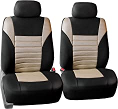 FH Group FH-FB068102 Premium 3D Air Mesh Seat Covers Pair Set (Airbag Compatible), Beige/Black Color- Fit Most Car, Truck, SUV, or Van