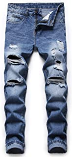 Ripped Jeans for Men Denim Slim Fit Straight Leg Distressed Destroyed Pants Mens Jeans with Hole