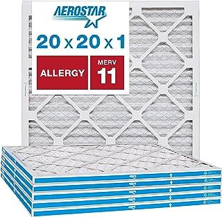 Aerostar Allergen & Pet Dander 20x20x1 MERV 11 Pleated Air Filter, Made in the USA, 6-Pack