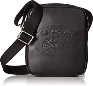 Men's Leather Mini Vertical Camera Bag with Badge Logo