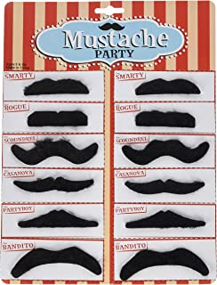 Rhode Island Novelty Black Mustache Party Pack, 12 Pieces