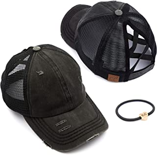 کلاه بیس بال قابل تنظیم دم اسبی جین پنبه ای شسته شده C.C (BT-12) (BT-13) (BT-14) (BT-15) (BT-18) (BT-780) (BT-783)