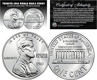1943 TRIBUTE Steelie WWII PENNY Coin Clad in Genuine .999 Fine SILVER – Lot of 3