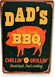 Dad's BBQ Sign Retro Vintage BBQ Decor Perfect for your Home, Kitchen, Backyard Grill area, Man Cave, Garage, or Bedroom. BBQ signs Size: 8x12