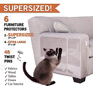 PanzerGlobal Cat Furniture Protector - Supersized Pet Protectors Included - Cut-to-Fit Sofa Scratch Protection - Dog Scratching Guards for Couch, Door, Armchair Corner - Animal Anti-Scratch Shield