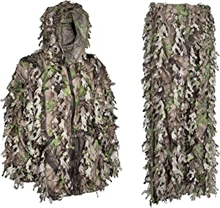 Ghillie Suit - Premium Hunting Clothes For Men - Solid Shell Woodland Green Camouflage - Knee Length Leg Zippers for Easy On and Off - Twice The Leafs of A Standard Camo Leafy Suit