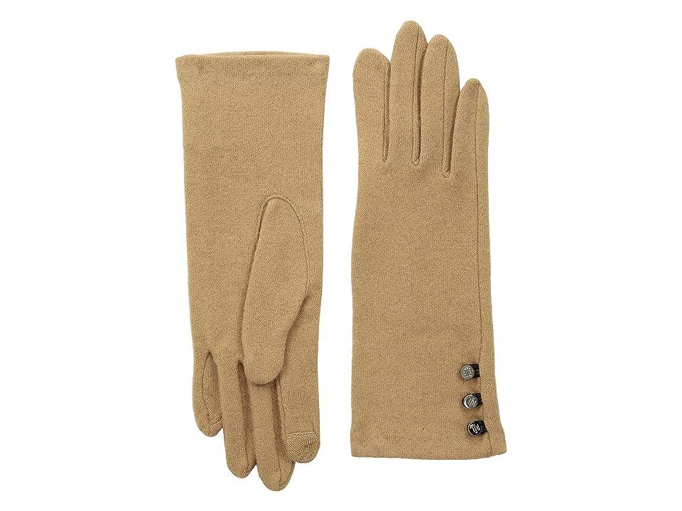 LAUREN Ralph Lauren Three-Button Touch Gloves (Camel) Wool Gloves