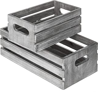 MyGift Vintage-Style Light Gray-Wash Brown Wood Nesting Boxes, Storage Crates w/Handles, Set of 2