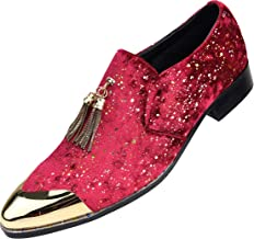 Amali Mens Metallic Speckled Velvet Loafer with Metal Gold Chain Tassel & Matching Gold Metal Tip,Smoking Slipper Dress Shoe, Style Chaz