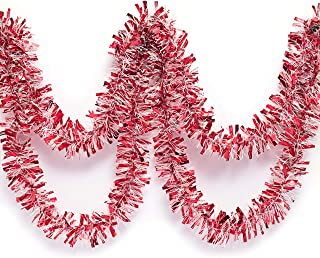 Red and White Metallic Tinsel Twist Garland 4 inches Wide x 25 ft Long