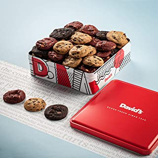 David's Fresh-Baked Cookies Tin, 0.50 Oz Assorted Mini Cookies with Chocolate Chip, Chocolate & White Chocolate Chip & Red Velvet Cookies, Gourmet Christmas Holiday & Corporate Food Gift (54 Count)