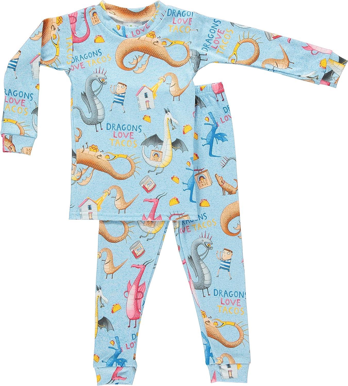 Books Financial sales sale to Bed Dragons Love Tacos Sales Set Pajamas 4 Kids Blue