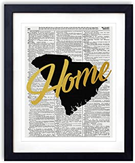 South Carolina Home Gold Foil Art Print - Vintage Dictionary Reproduction Art Print
