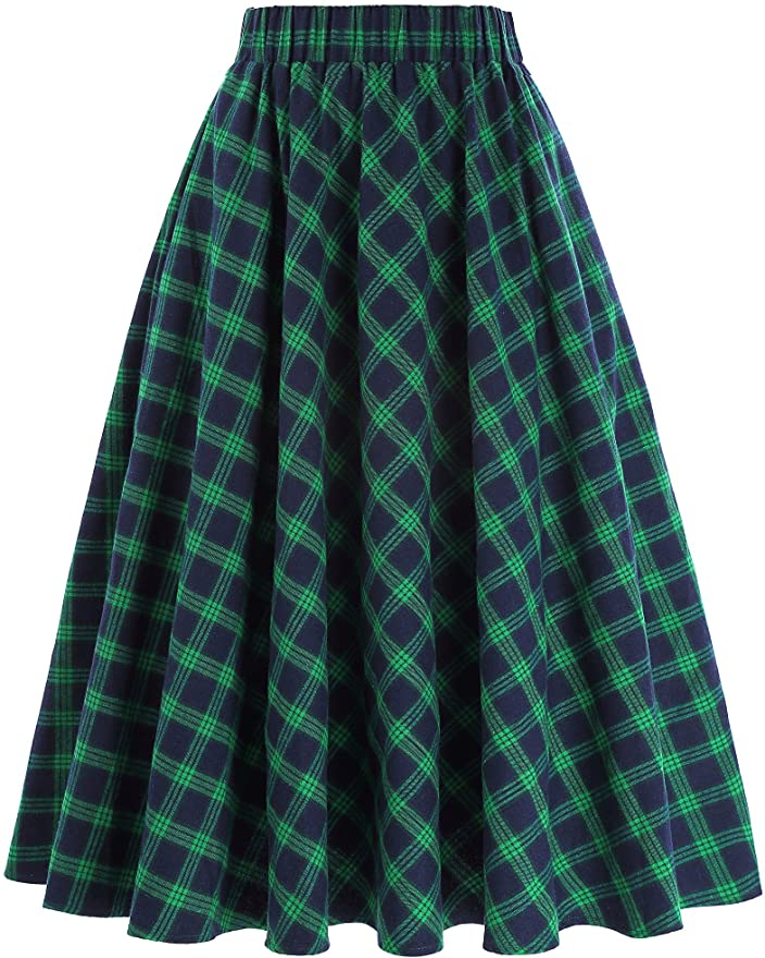 1940s Style Skirts- Vintage High Waisted Skirts Kate Kasin Womens A-Line Vintage Skirt Grid Pattern Plaid KK633/ KK495  AT vintagedancer.com