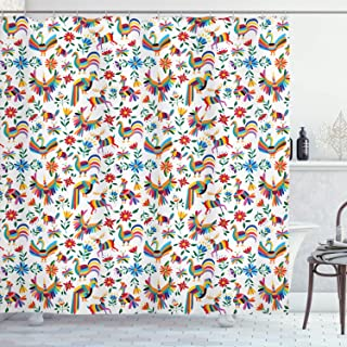 Ambesonne Mexican Shower Curtain, Traditional Latin American Art Design with Natural Inspirations Flowers and Birds, Cloth Fabric Bathroom Decor Set with Hooks, 70