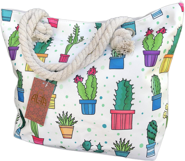 Cute Southwest Cactus Plants Summertime Pool Towel Beach Travel Tote Shoulder Bag (Multi)