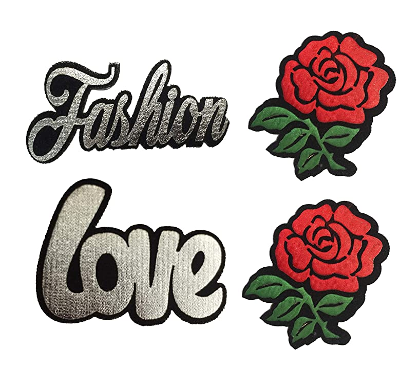 4 x Embroidered Patch Sew On Patch Applique and Iron On 2-Rose and Fashion and Love Patch Embroidered Set for Clothing, Jeans, Jackets