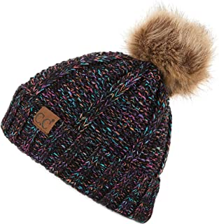 Exclusives Fuzzy Lined Knit Fur Pom Beanie Hat (YJ-820)