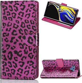 Tom's Village Printed Leopard Wallet Case for Samsung Galaxy Note 9 ID/Credit Card Slots PU Leather Magnetic Flip Cover Drop Resistant Shockproof Flexible Soft TPU Bumper Fit Protective Cover Hot Pink