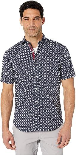 Zebra Dot Short Sleeve Button Up Shirt