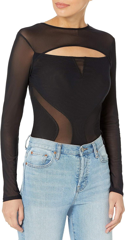 GUESS womens Long Daily bargain sale Washington Mall Sleeve Illusion Bodysuit Mesh