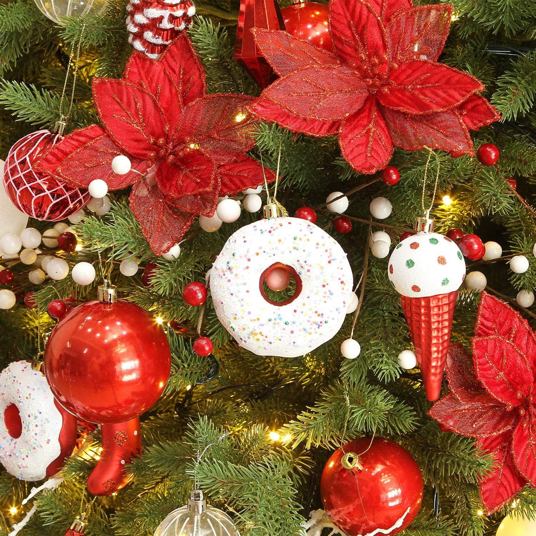 con Polvere Luminosa Decorati con Albero di Natale Sea Team 12 Pezzi di Fiori di Natale Artificiali