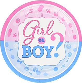"""Amscan Tableware Collection, Girl or Boy Round Plates Party Supplies, 7"""", Multicolor"""