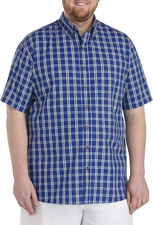 Harbor Bay by DXL Big and Tall Easy-Care Medium Plaid Sport Shirt, Green