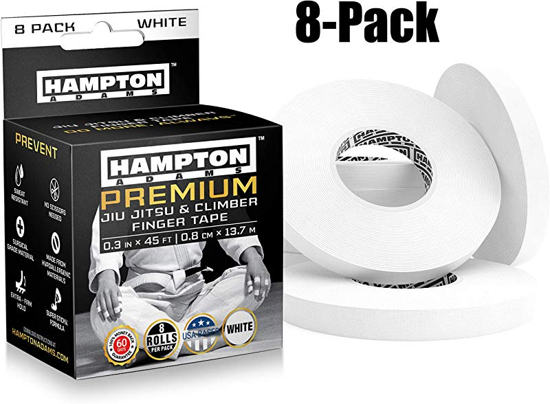 White Finger Tape 8 Pack Athletic Tape 0 3 X 45 Feet For Rock Climbing BJJ Jiu Jitsu Grappling MMA Crossfit And Martial Arts By Hampton Adams