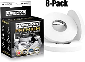 "White Finger Tape (8 Pack) - Athletic Tape | 0.3"" x 45 Feet - for Rock Climbing, BJJ Jiu Jitsu, Grappling, MMA, Crossfit and Martial Arts by Hampton Adams"