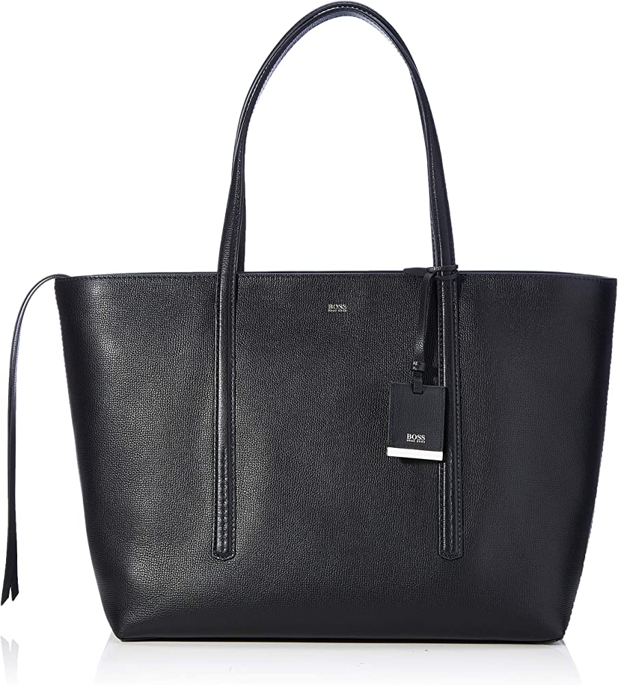 Hugo boss,borsa shopper in pelle martellata italiana con pendente,in vera pelle 50424305