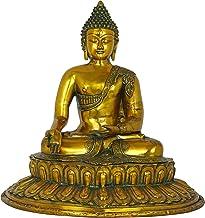 Meditating Buddha Seated on Lotus Pedestal - Brass Statue