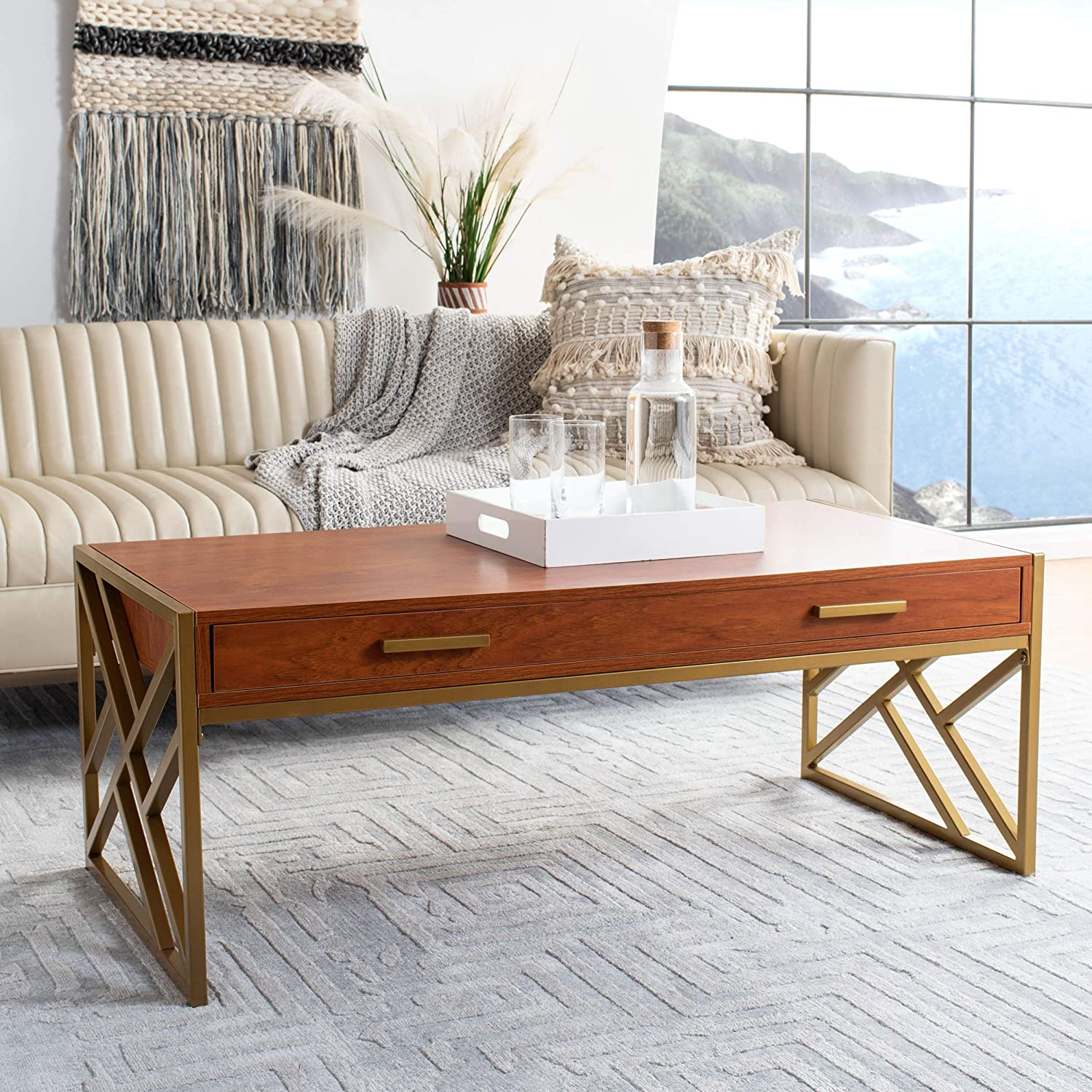 Safavieh Home Elaine Natural and Table San Antonio Mall Coffee Gold 2-drawer Limited price