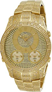 JBW Luxury Men's Jet Setter III 118 Diamonds Three Time Zone Swiss Movement Watch - J6348A