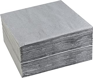 Lunch Paper Napkins Elegant Grey Color Paper Napkins, 2 ply, 13 inch x 13 inch Fully Opened, 6.5 * 6.5 inch Folded, 2 Pack of 50 Count Grey Color Paper Lunch Napkin(Total 100 pcs) by Nursetree