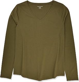 Amazon Essentials Women's Classic-Fit 100% Cotton Long-Sleeve V-Neck T-Shirt