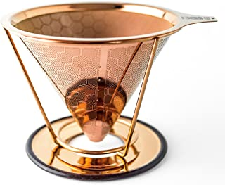 HIBOU - Copper Coated Pour Over Coffee Dripper - Paperless Filter - Reusable & Ecofriendly - Honeycomb Design Dripper - Co...
