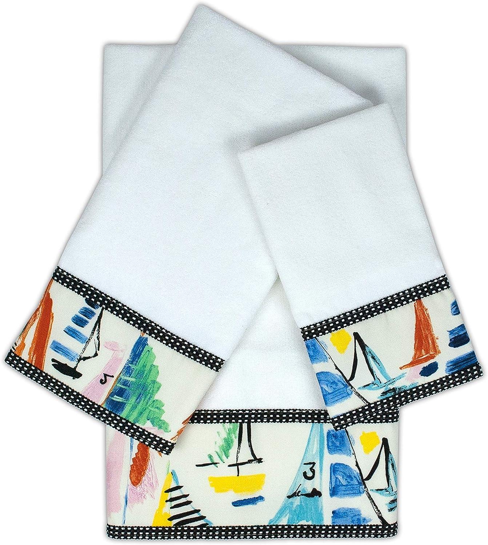 Sailboat White 3-Piece Embellished Charlotte Mall Towel Translated Orange Set Blue Graphic