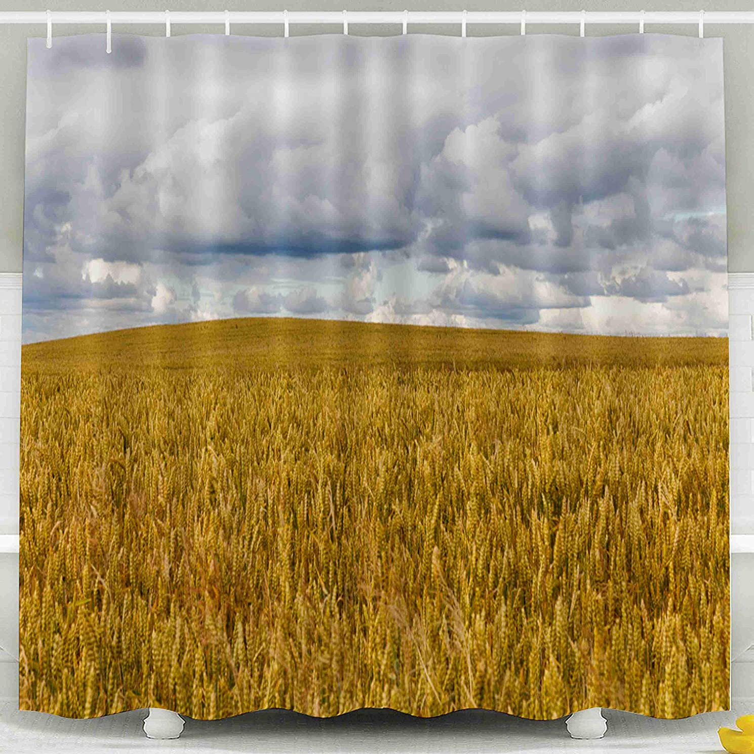 Shorping 78x72 Shower Curtain,Kids Shower Curtain, Agricultural Field Orange Yellow Wheat in The Summer Landscape Waterproof Decor Bathroom Set with Hooks