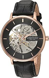 Kenneth Cole Men's Automatic Watch, Analog Display and Leather Strap KC50780001