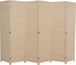 ALPHA HOME 6 Panel Bamboo Room Dividers, 6 ft. Tall Freestanding Extra Wide Deluxe Natural Portable Folding Room Screens