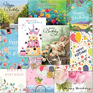 Pack of 10 Premium Female Birthday Greeting Cards from Olivia. A5 Standard Size Multipack Assortment with Peel and Seal En...
